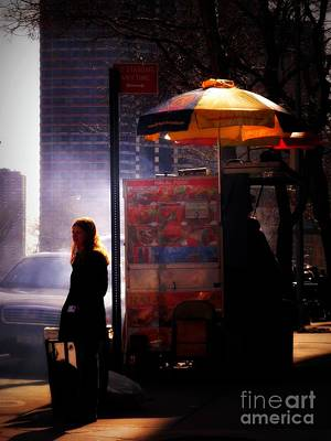 Photograph - Sun And Shadow - Girl With Food Cart - New York City Street Scene by Miriam Danar