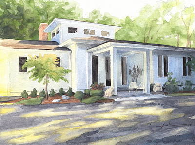 Sun And Shadow House Watercolor Portrait Art Print by Mike Theuer