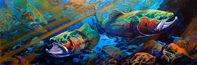 Trout Painting - Sun And Steel Steelhead Trout Painting by Savlen Art