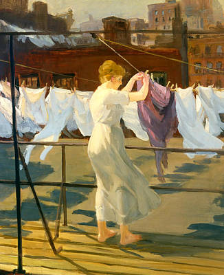 Laundry Painting - Sun And Wind On The Roof by Mountain Dreams