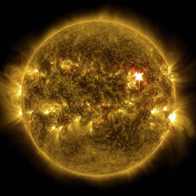 Ejecting Photograph - Sun And X1 Solar Flare by Nasa/sdo