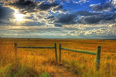 Sun Burst Over The Plains Art Print