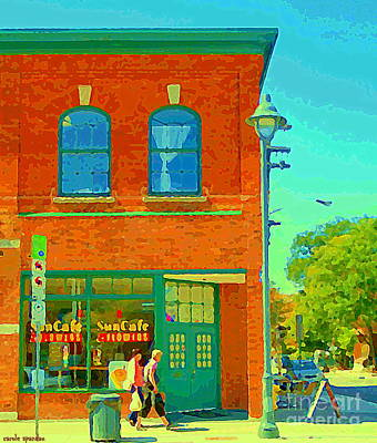 Painting - Sun Cafe And Flower Shop Ottawa Village The Glebe Coffee Tea Room Florist Ottawa Scenes Cspandau Art by Carole Spandau