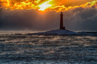 Red Roses - Sun climbing over Thacher Island lighthouse by Jeff Folger