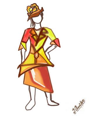 Sun Color Dress Art Print by Artist Nandika  Dutt