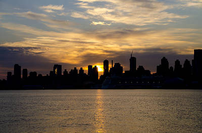 Hudson Photograph - Sun Comes Up On New York City by Bill Cannon