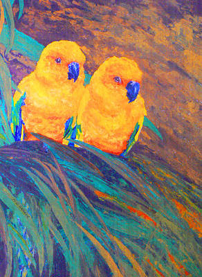 Painting - Sun Conures by Margaret Saheed