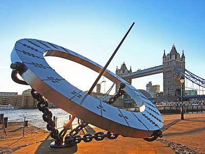 Photograph - Sun Dial And Tower Bridge London by Gill Billington