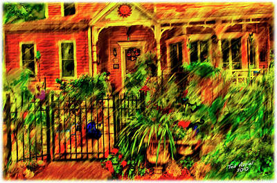 Art Print featuring the painting Sun Dial House by Ted Azriel