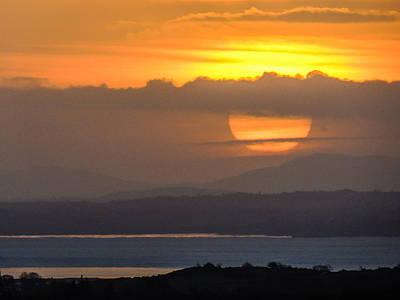 Photograph - Sun Disc Over River Shannon by James Truett