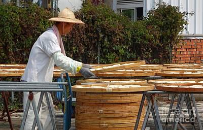 Sun Dried Noodles In Taiwan Art Print by Yali Shi