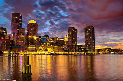 Photograph - Sun Dusk Over Boston Harbor by Ludmila Nayvelt