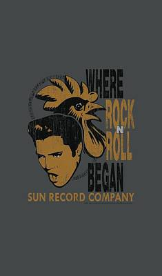 Music Digital Art - Sun - Elvis And Rooster by Brand A