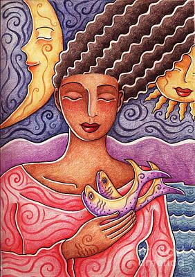 Drawing - Sun Fish Moon by Elaine Jackson