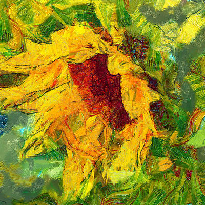 Digital Art - Sun Flower Aka Gogh 1 by Yury Malkov