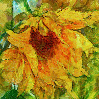 Digital Art - Sun Flower Aka Gogh 2 by Yury Malkov