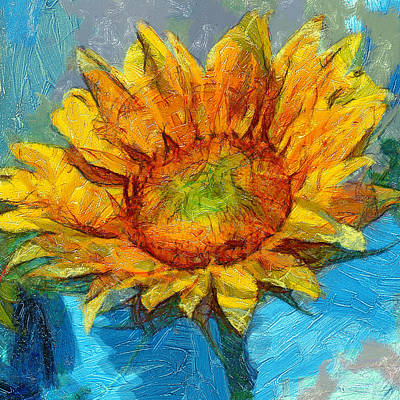 Digital Art - Sun Flower Aka Gogh 4 by Yury Malkov