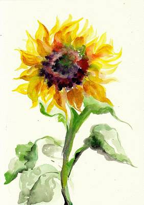 Sunflower Watercolor Art Print by Tiberiu Soos