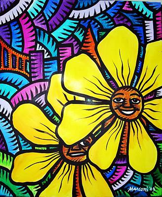 Painting - Sun Flowers And Friends 3 2010 by Marconi Calindas