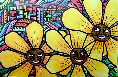 Painting - Sun Flowers And Friends Sf 2 2009 by Marconi Calindas