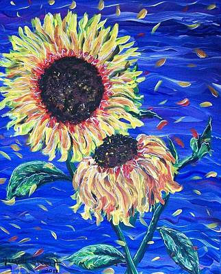 Painting - Sun Flowers And Wind by Jeanette Stewart