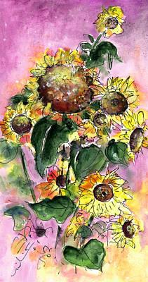 Sun Flowers From Avila Art Print by Miki De Goodaboom