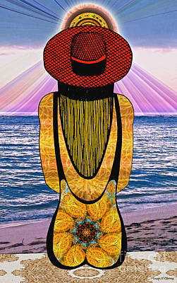 Drawing - Sun Girl's Back by Joseph J Stevens