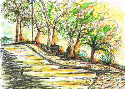 Celebrity Watercolors - Sun glowing through Trees by Teresa White