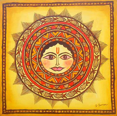 Madhubani Painting - Sun God-source Of Energy by Shishu Suman