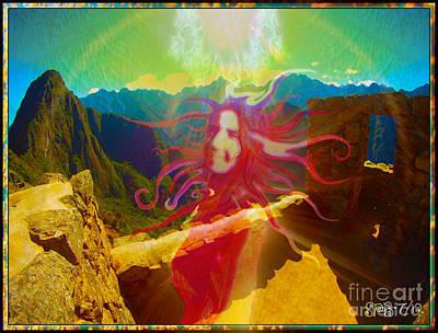 Ruins Mixed Media - Sun Goddess At Machu Picchu by Shawn  Bowen