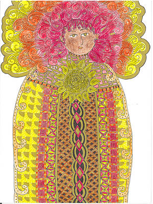 Folk Art Mixed Media - Sun Goddess by Rebecca Klingbeil