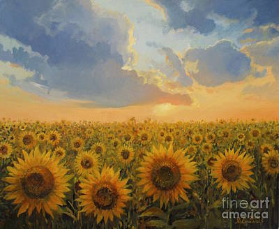 Golden Sunlight Painting - Sun Harmony by Kiril Stanchev
