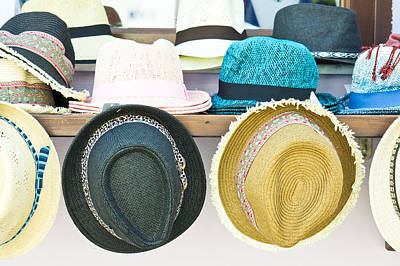 Marketplace Photograph - Sun Hats by Tom Gowanlock