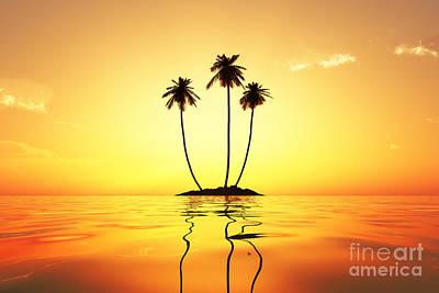 Coconuts Digital Art - Sun In Palms by Aleksey Tugolukov