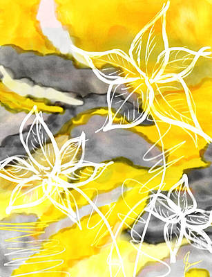 Abstract Yellow And Grey Painting - Sun In Spring by Lourry Legarde