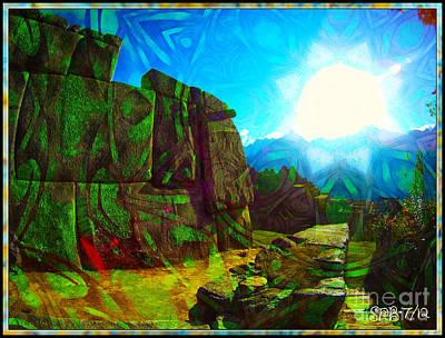 Ruins Mixed Media - Sun Is God At Machu Picchu by Shawn  Bowen