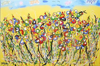 Painting - Sun-kissed Flower Garden by Gh FiLben
