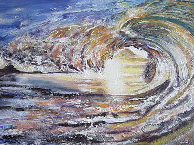 Phthalo Blue Painting - Sun Light Wave by Ordy Duker