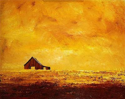 Art Print featuring the painting Sun Lit Barn by William Renzulli