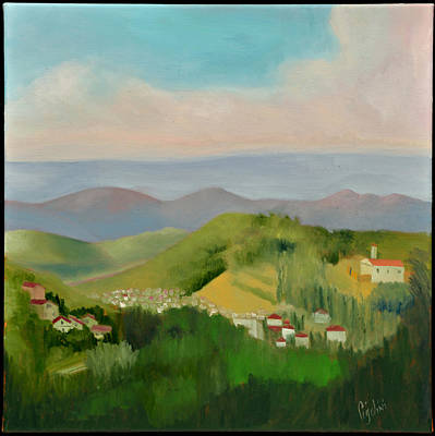 Hill Top Village Painting - Sun Lite Valley by Gloria Cigolini-DePietro