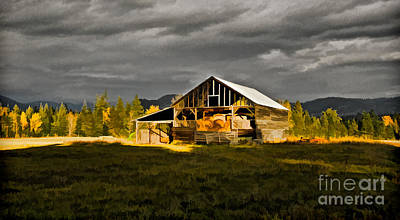 Photograph - Sun On Barn by Sam Rosen