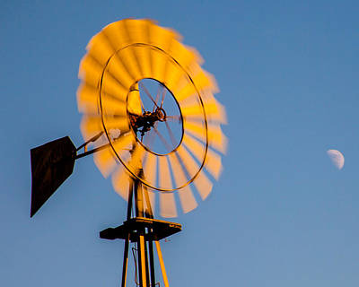 Photograph - Sun On Windmill With The Moon In Blue Sky Fine Art Photography Print by Jerry Cowart