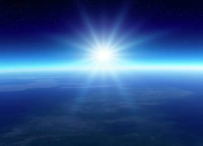 Curvature Photograph - Sun Over The Earth by Detlev Van Ravenswaay