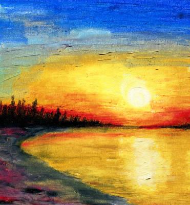 Sun Over The Lake Art Print by R Kyllo
