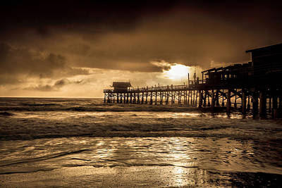 Sun Over The Pier Art Print by Steven Reed
