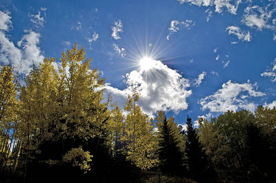 Sun Rays Across Colorado Mountain Art Print