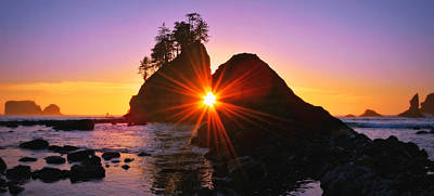 Photograph - Sun Rays And Sea Stacks by Jeff Cook