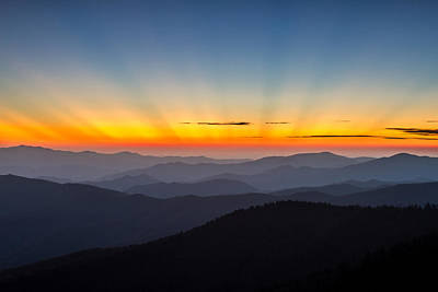 Photograph - Sun Rays From Clingmans Dome In The Great Smoky Mountains National Park by Pierre Leclerc Photography