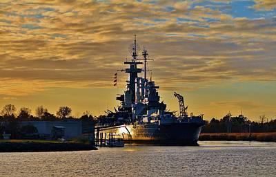 Sun Reflecting On Battleship Art Print by Cynthia Guinn