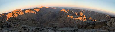Art Print featuring the photograph Sun Rising On Sinai - Wide Angle Panorama by Julis Simo